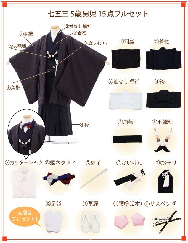5歳男の子(袴)着付ご入り用フルセットの内容