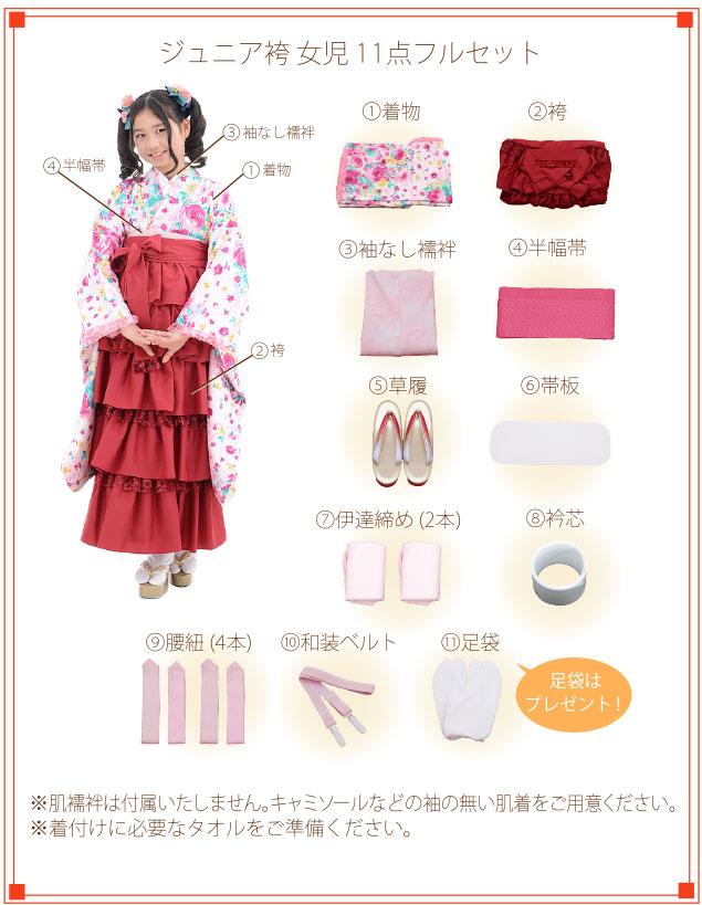 小学生卒業式袴レンタル|小学校卒業式着物レンタル着付ご入り用フルセットの内容