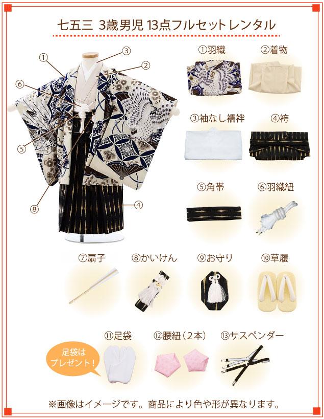 3歳男の子(袴)着付ご入り用フルセットの内容