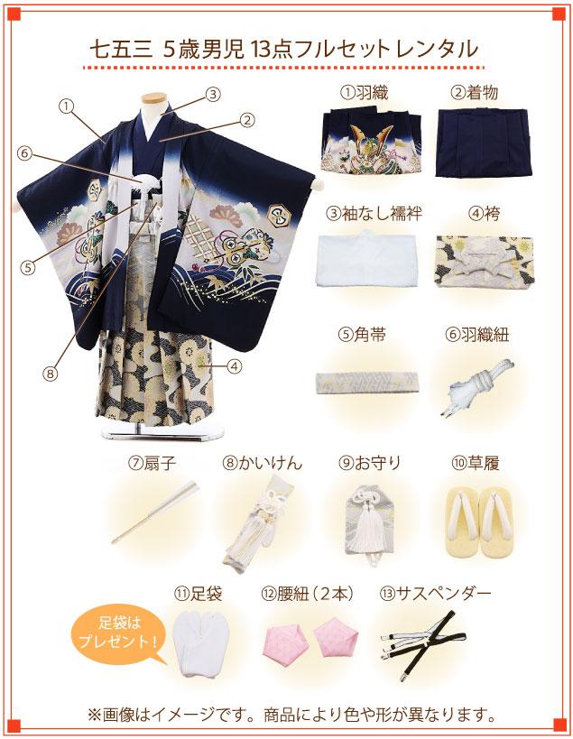 5歳男の子(正絹・羽織袴)着付ご入り用フルセットの内容