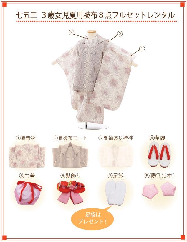 3歳女の子(被布・夏用)着付ご入り用フルセットの内容