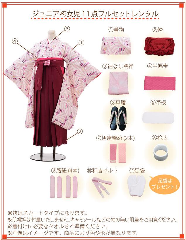 小学生卒業式袴レンタル(女の子)着付ご入り用フルセットの内容