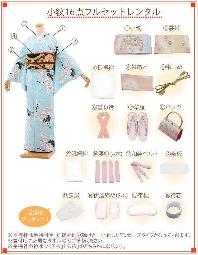 小紋(夏用)着付ご入り用フルセットの内容