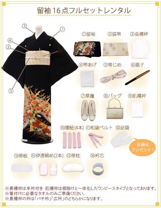 留袖 レンタル着付ご入り用フルセットの内容