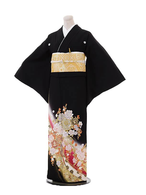 黒留袖3196桂由美 レッドバラ