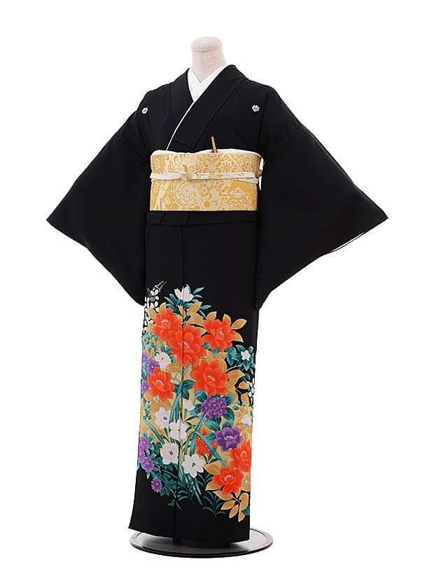 留袖 レンタル C3200 金彩 花づくし〔単衣〕