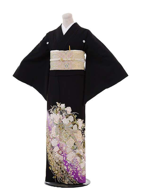 黒留袖4443桂由美 紫ぼかしバラリボン