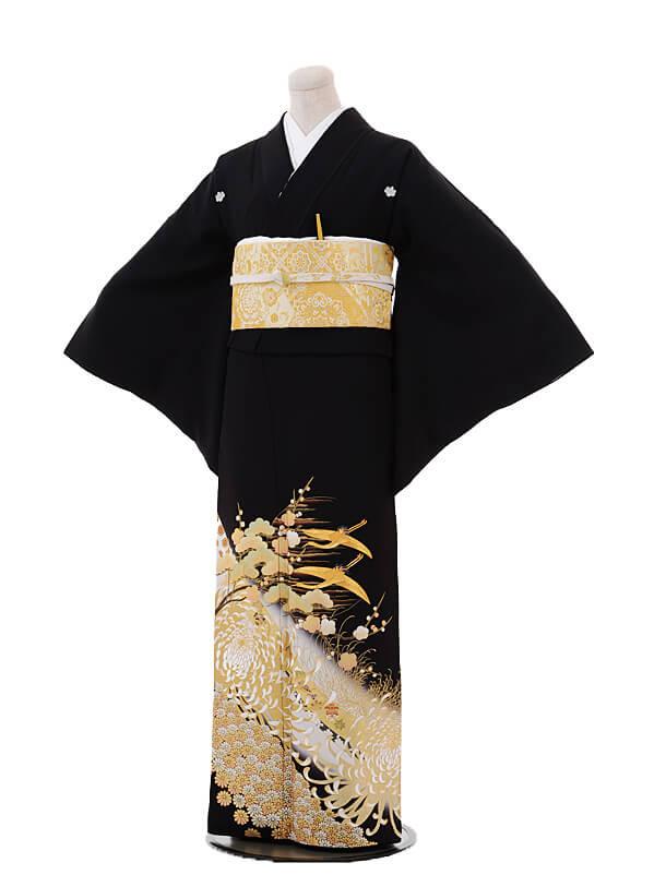 黒留袖4444金彩乱菊に飛鶴