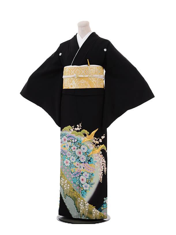 黒留袖4445桂由美 グリーン辻が花に飛鶴