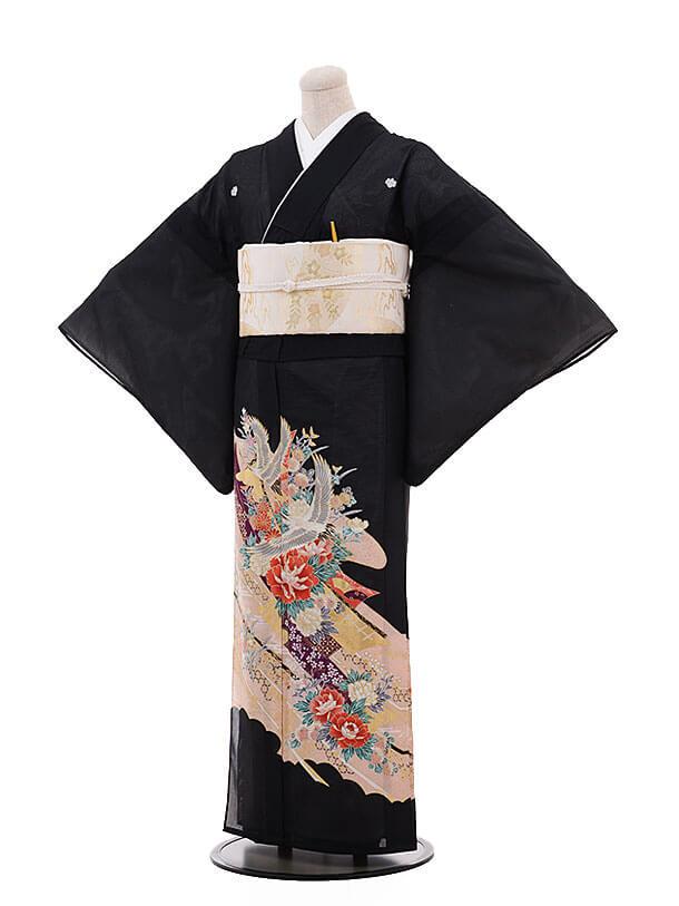 夏留袖 5357 淡ピンク 牡丹と鶴