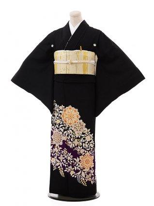 留袖 レンタル5390 紫ぼかし 華紋 唐花