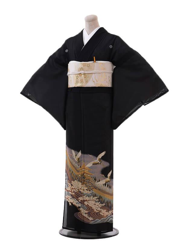 夏留袖6092 パープル 梅に飛鶴