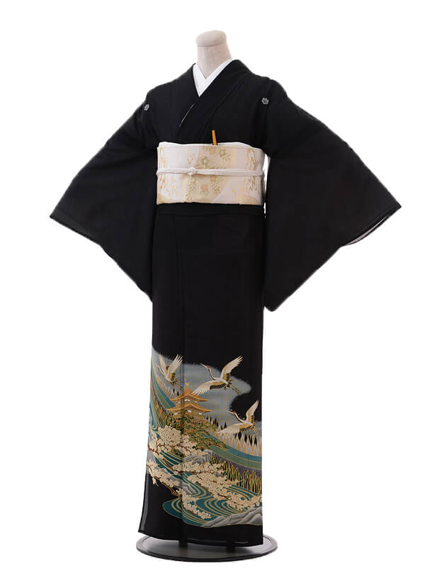 夏留袖7037 グリーン 梅に飛鶴