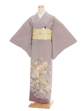 色留袖レンタル625紫地雪輪のし唐花