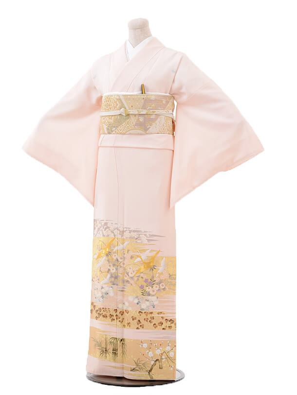 色留袖レンタル703桂由美ピンク飛鶴