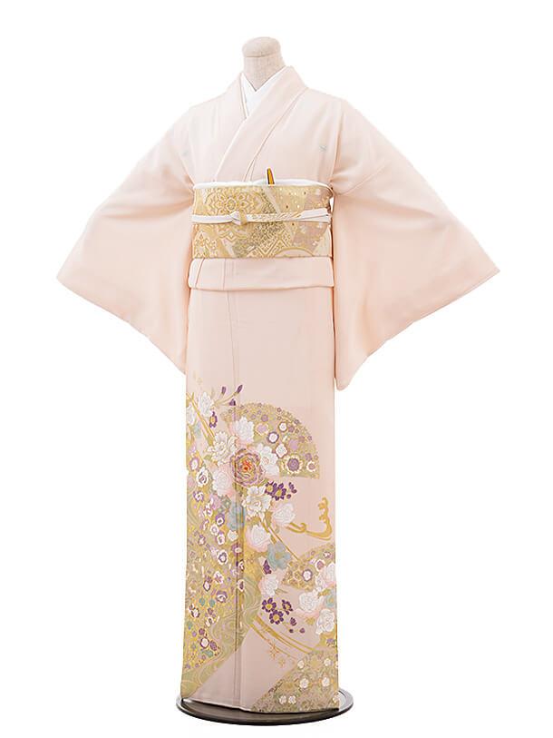 色留袖レンタル714 桂由美 ピンク地 バラ 扇