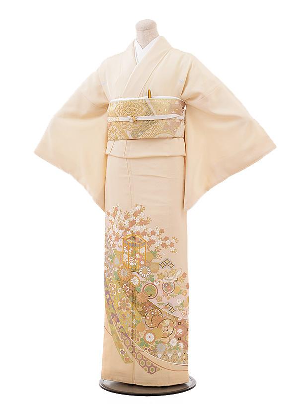 色留袖レンタル715 桂由美 ベージュ地 桜 貝桶