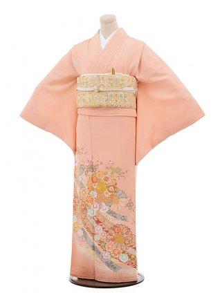 色留袖レンタル 741 京友禅 サーモンピンク 正倉院文様 天平浪漫 花刺繍