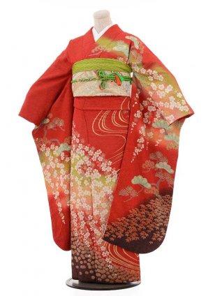 振袖レンタル874朱赤地ラメ桜