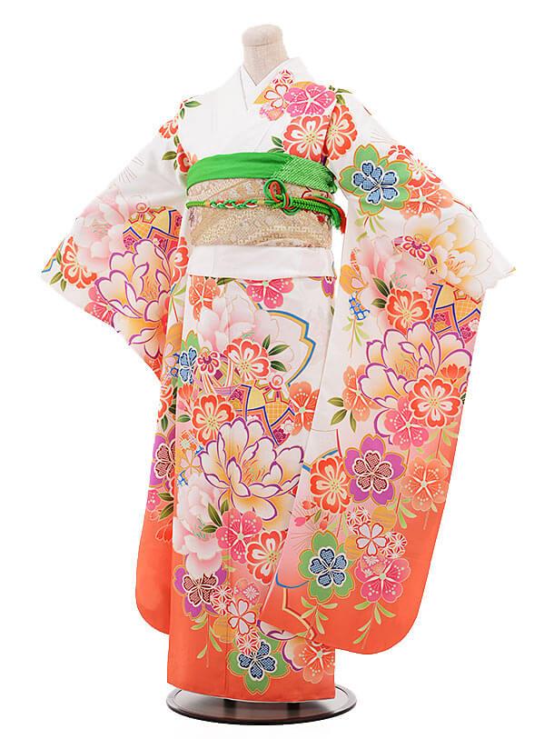 振袖963 白×オレンジ ぼたん 桜(化繊)