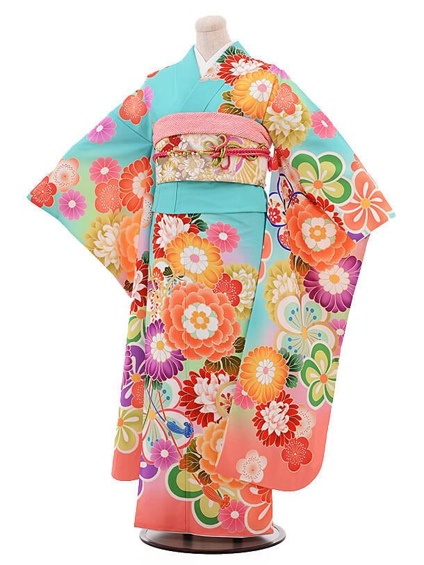 振袖967 ペパーミントグリーン 裾オレンジ 花づくし(化繊)