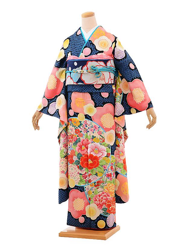 振袖 1006 kamishibai×越智 ブルー かのこ花