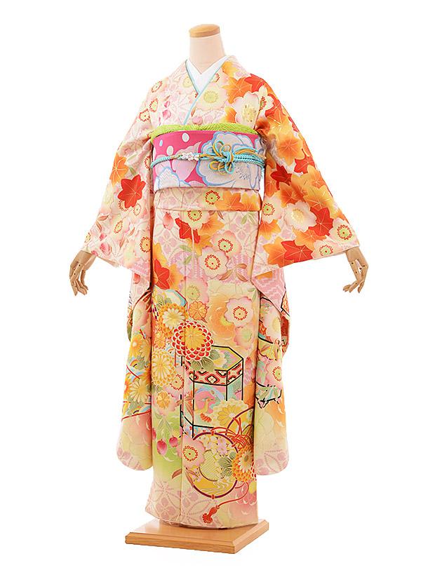 振袖 1008 kamishibai×越智 クリーム地 貝桶 桜