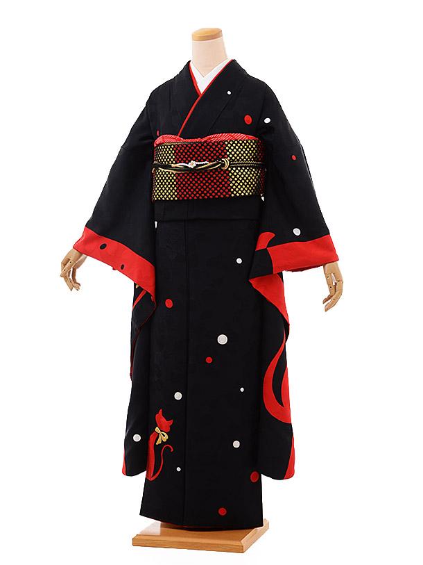 振袖 1017 黒×赤 猫