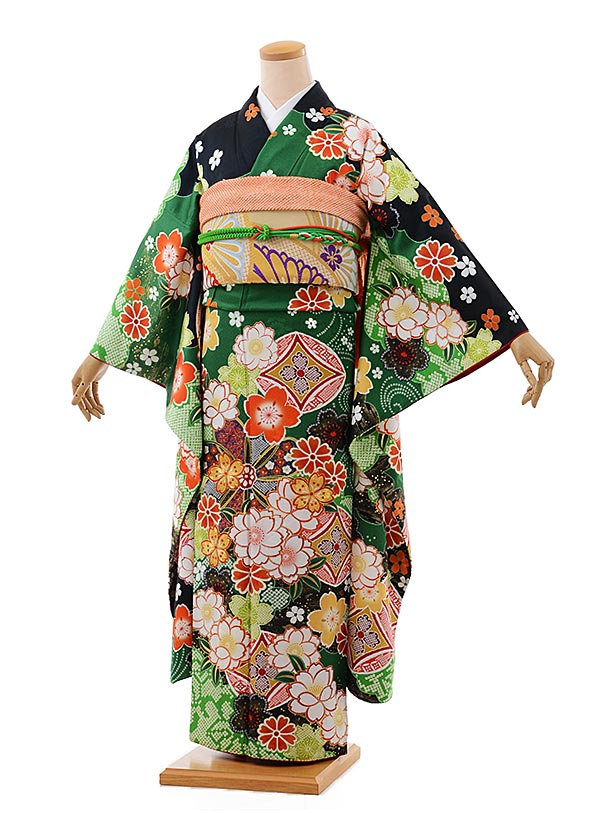 振袖 1053 [YumiYumi] グリーン地 桜