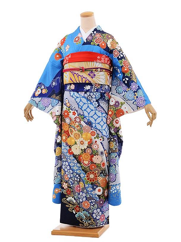 振袖1057 [優羽] ブルー 金コマ刺繍 菊と小槌