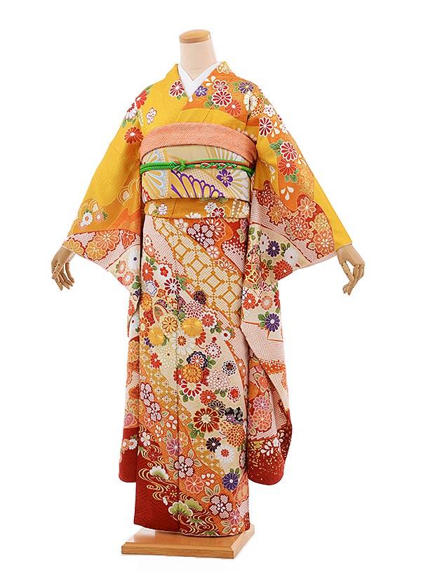 振袖 1058 [優羽] 黄色地 金コマ刺繍 菊と小槌