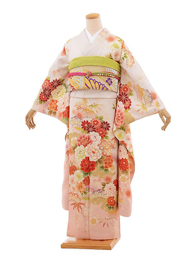 振袖 1059 サーモンピンク 紅葉と牡丹 刺繍