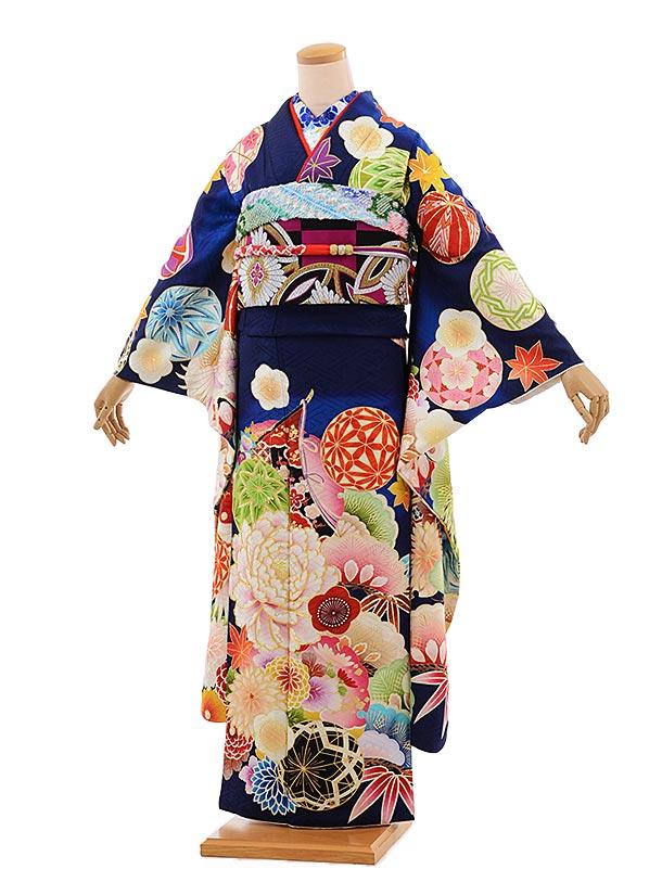 振袖 1065 [JAPAN STYLE]×ちはやふる紺地マリに牡丹