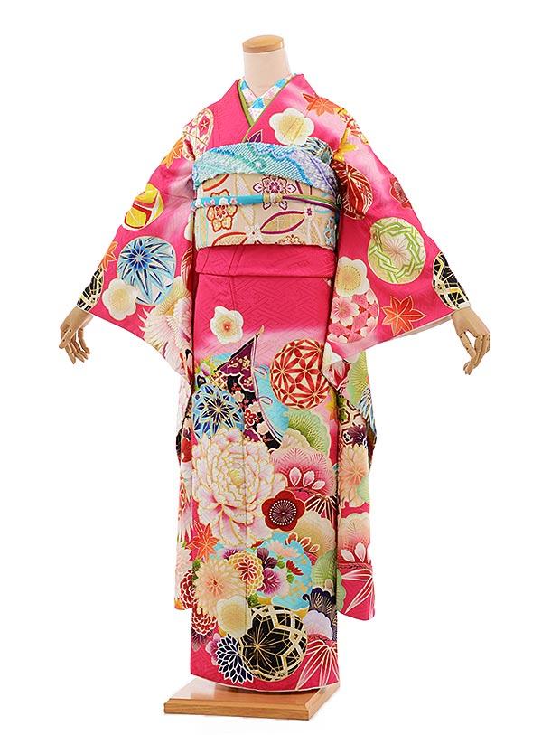 振袖 1071 [JAPAN STYLE]×ちはやふる ピンク地 毬に牡丹