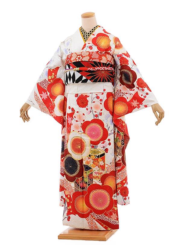 振袖 1072 [JAPAN STYLE]×ちはやふる 白地 赤梅