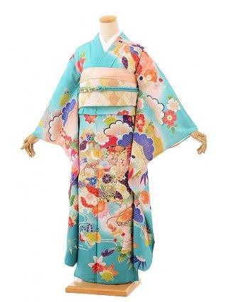 夏振袖 絽 正絹1088 ターコーイズ地貝桶に四季花