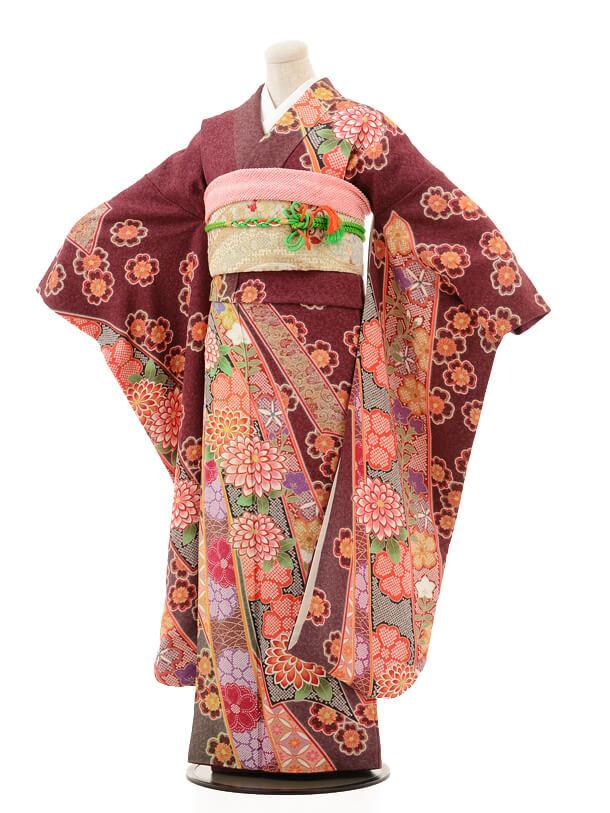 振袖E029 繭茶紫 花熨斗