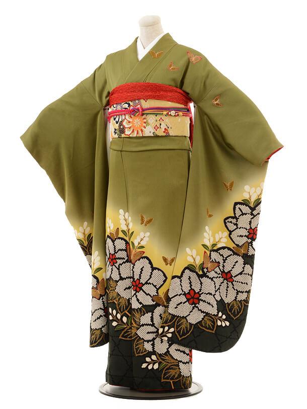 振袖E044 抹茶色桐の花