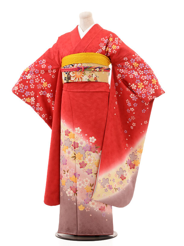 振袖E069 赤地桜