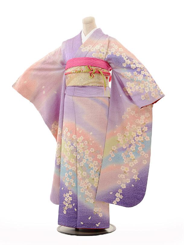 振袖E117 薄紫ぼかしラメ桜