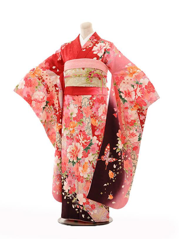 振袖E152 赤ピンクぼかし花と蝶
