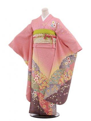 振袖レンタルF027ピンク地ぼかし桜花
