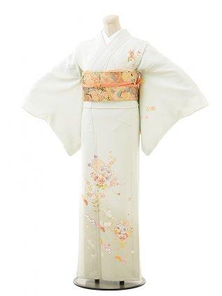 夏訪問着t0505 淡ブルーグリーン花(正絹(単衣))