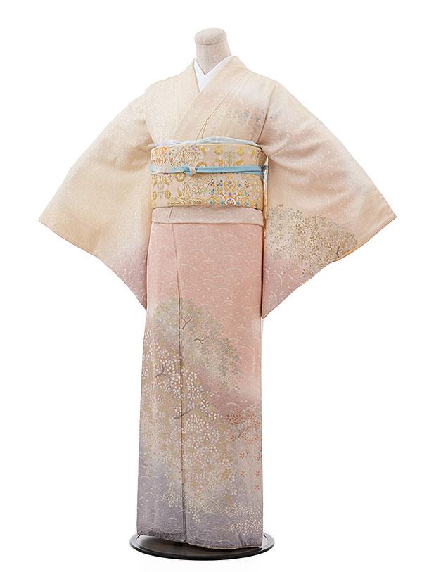 訪問着レンタル527夢二浪漫クリーム地ぼかし桜