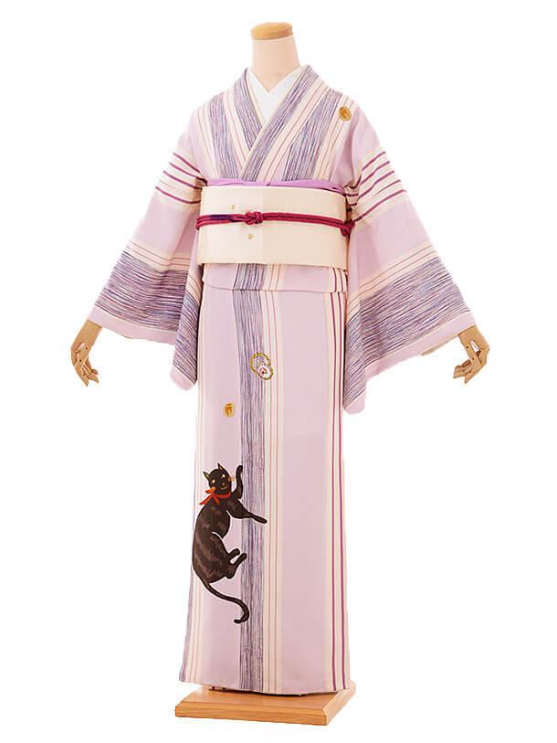 訪問着レンタルt649 tsumori chisato すみれ色 縞に猫