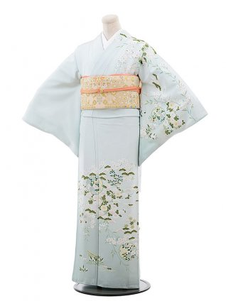 訪問着レンタル752 うすグリーン地 菊 松 桜