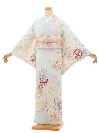 訪問着レンタル817 乙葉 まりに桜菊 水色(化繊)