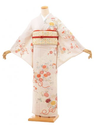 夏訪問着レンタル823 ジャパンスタイル ベージュ 四季花(化繊)