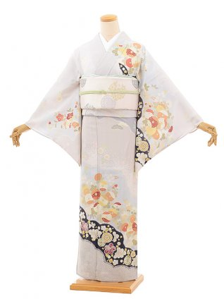 夏訪問着レンタル831 ジャパンスタイル 絽 グレー 雲取り菊(化繊)
