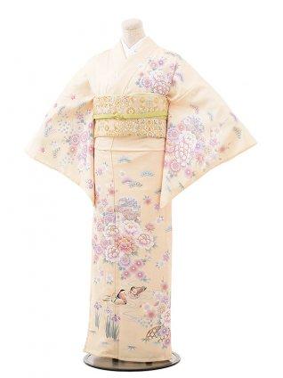 夏訪問着レンタル835 薄クリーム色 牡丹とおしどり(